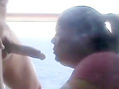 Cheating BBW wife sucking a stranger's cock on a cruise