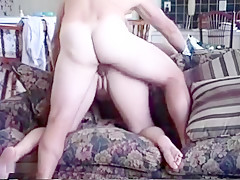 Big ass pale wife gets slammed in a doggy pose on the couch