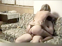 Blonde babe sucking cock and riding cowgirl on the sofa