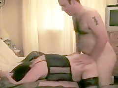 Chubby brunette wife sex with her hubby and a stranger