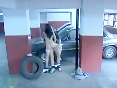 Dirty babe sucks and rides hard rod on the parking lot spy cam