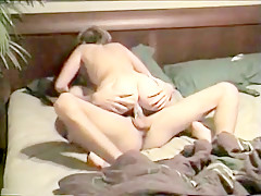 Wife with hot body riding cowgirl on hubby's big cock