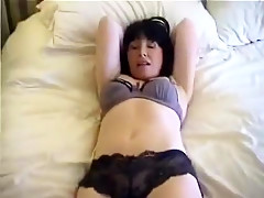 Sexy brunette in lingerie gets fucked and cummed on