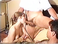 Slut wife facialized after sucking on strangers cocks