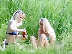 Lusty blonde lesbians enjoy in hot outdoor pussy licking