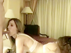 Seductive brunette in lingerie gives a blowjob homemade porn