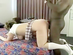 Hot white wife in schoolgirl outfit gets black dicked deep in her asshole