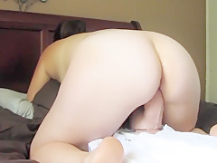 Naughty wife testing out a b...