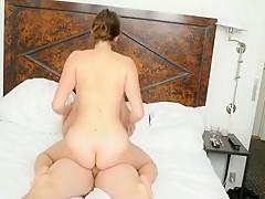Crazy exclusive brunette, cowgirl, bedroom sex video