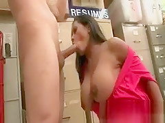 Busty brunette milf suck