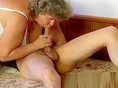 Big fat granny blowing cock