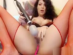 Bombshell brunette in stockings masturbates on cam