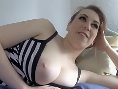 Hot blonde blowing the whistle her nipples onto webcam