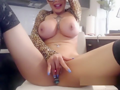 Barefaced Butt Plugged Busty Plays With Her Sexy Twat