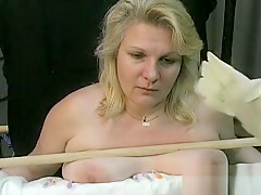 Harsh treatment on mature muff in bondage xxx
