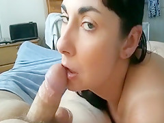 Horny amateur wife, blowjob, threesome sex clip