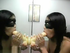 Asian Milf Mounts A Dildo On Mirror And Fucks It