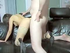 Masturbating Gal Gets Stuffed With A Cock
