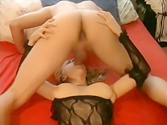 Dreamy  Blonde In Lingerie Makes Her Man Happy