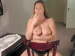 Blonde Smokes And Shows Her Tits