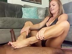 Lucky Big Black Cock Gets An Amazing Footjob