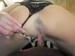 Busty blonde fingered in close up