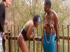 Ebony whores in bondage got abused roughly by their masters