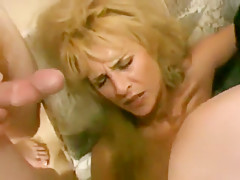 Adult blonde gets her pockets banged deeply by two men that