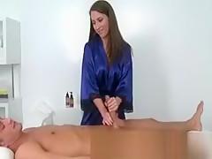 Pornstar strips down and rubs her massage client
