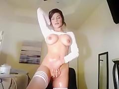 Alektra Blue Striptease and Masturbation