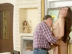 Sultry college girl was seduced and nailed by her elder tuto