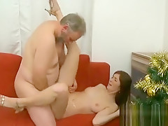 Stunning young babe enjoys old dick in mouth and bawdy cleft