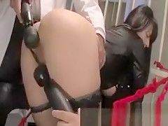 Big titted asian bitch gets her clit rocked with toys