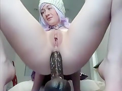 Slut sits on the console - burstpussy(dot)com