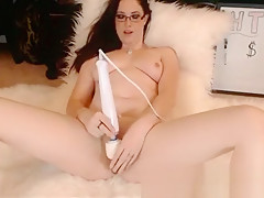 MILF With Glasses Toying Pussy With Vibrator and Dildo