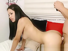 Lovely brunette camgirl gets fucked doggystyle on webcam