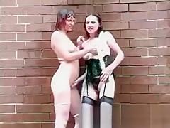 Two brunette lesbian friends get naked