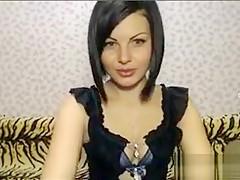 Russian girl dances a striptease and masturbates on webcam