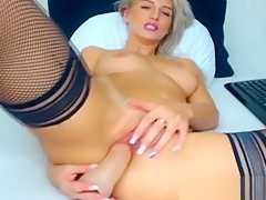 Blonde Babe Fucks Pussy With Finger and Toy