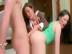 Teen and milf getting pussy pounded and really love it