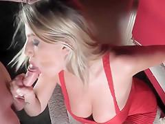 Busty blonde with amazing curves riding big hard boner