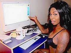 Seductive Black Gf On Her Lingerie Working - RealBlackExposed