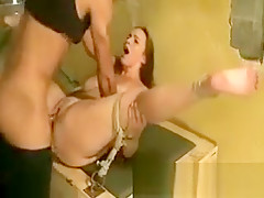 Slave gets her pussy pounded from her master