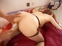 Sexy Asian wife in lingerie gets fucked with a dildo and bl