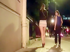 Nightclub is gone to by brunette in micro-skirt