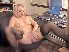 Blonde bitch in gorgeous stockings masturbates