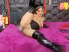 Busty amateur milf wears latex uniform and high he