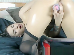 Awesome blowjob masturbation movie with a sexy brunette