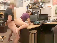 Shop Lifting Brunette Banged On Desk In Pawn Shop Office