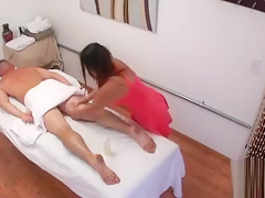 Playgirl performs relaxing, yet nasty massage for a dude